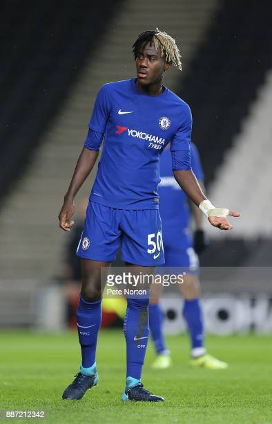 Trevoh Chalobah of Chelsea in action during the Checkatrade Trophy Second Round match between Milton Keynes Dons and Chelsea U21vat StadiumMK on...