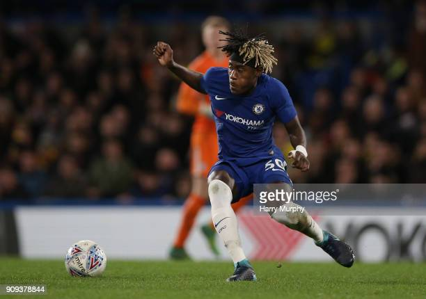 Trevoh Chalobah of Chelsea in action during the Checkatrade Trophy quarter final match between Chelsea U21 and Oxford United at Stamford Bridge on...