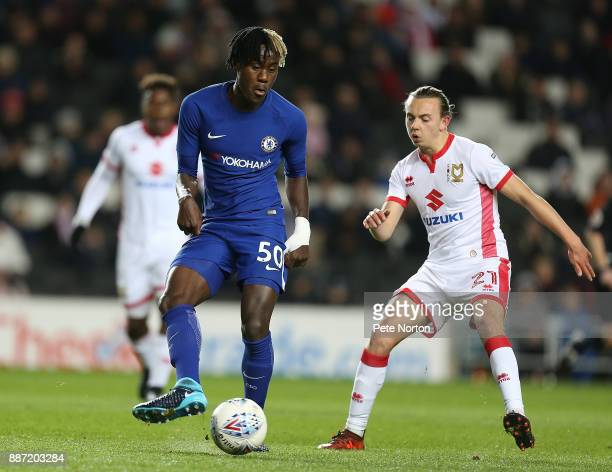 Trevoh Chalobah of Chelsea plays the ball during the Checkatrade Trophy Second Round match between Milton Keynes Dons and Chelsea U21vat StadiumMK on...