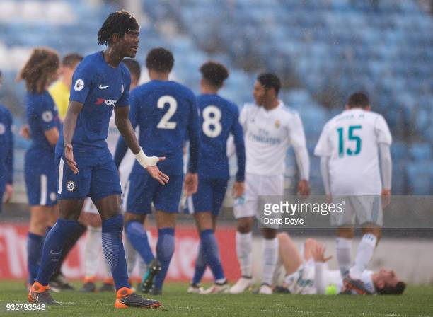 Trevoh Chalobah of Chelsea reacts after a Chelsea player was sent off during the UEFA Youth League Quarterfinal between Real Madrid and Chelsea at...