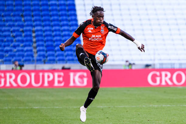 Trevoh Chalobah of FC Lorient controls the ball during the Ligue 1 match between Olympique Lyon and FC Lorient at Groupama Stadium on May 8, 2021 in...
