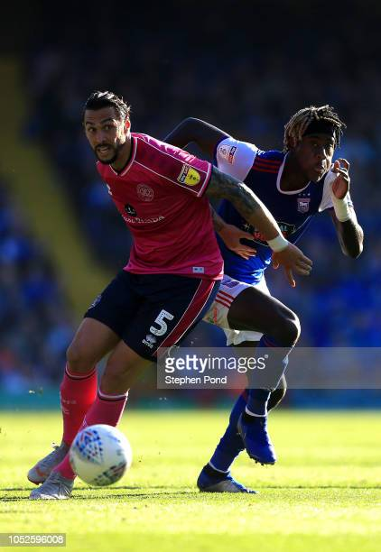 Trevoh Chalobah of Ipswich Town and Geoff Cameron of Queens Park Rangers compete for the ball during the Sky Bet Championship match between Ipswich...