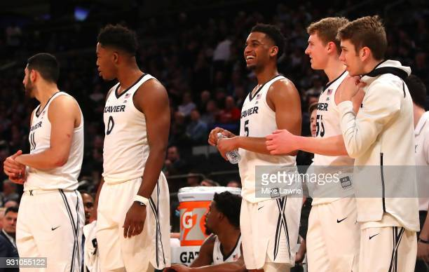 Trevon Bluiett of the Xavier Musketeers looks on with teammates in the second half against the St John's Red Storm during the Big East basketball...