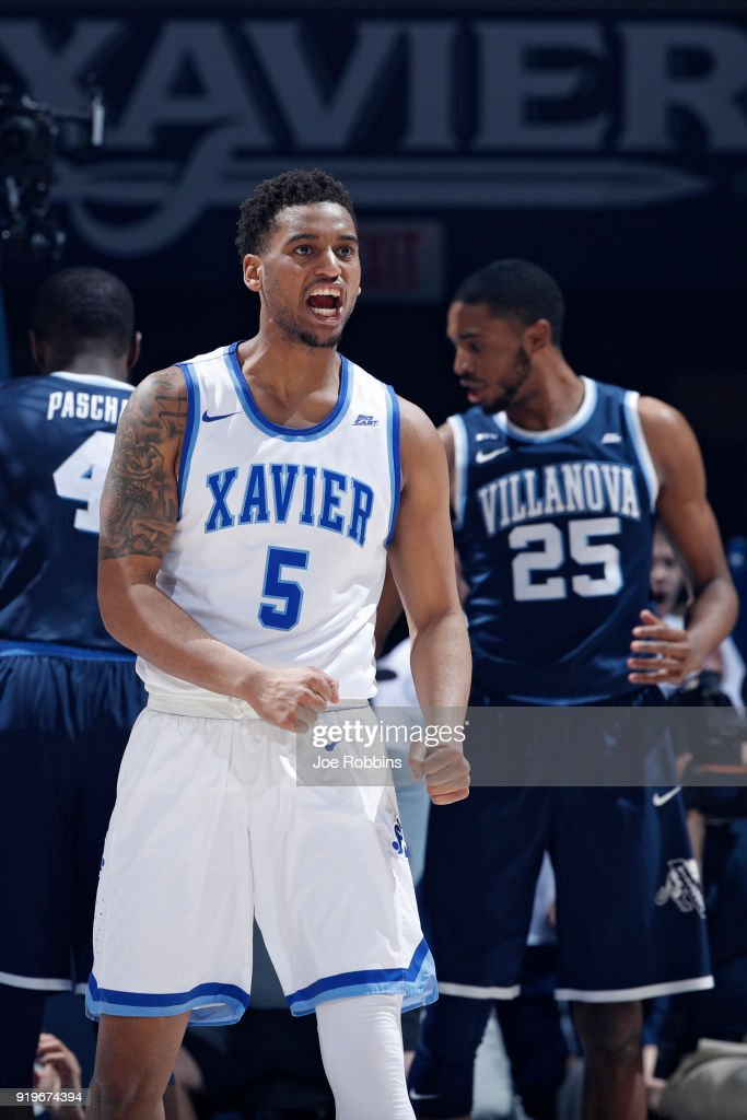 Trevon Bluiett #5 of the Xavier Musketeers reacts after scoring a basket in the second half of a game against the Villanova Wildcats at Cintas Center on February 17, 2018 in Cincinnati, Ohio. Villanova won 95-79.