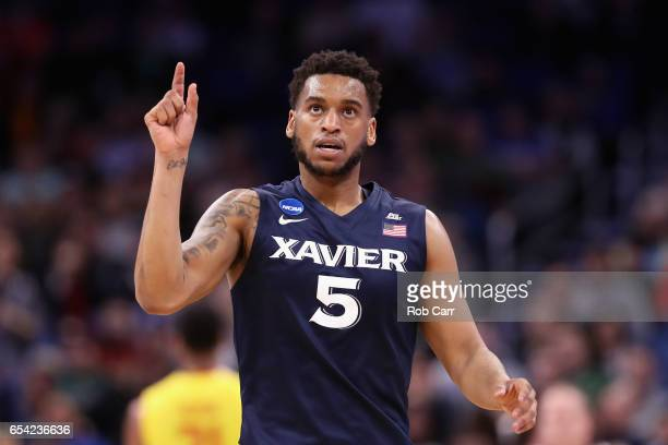 Trevon Bluiett of the Xavier Musketeers reacts in the second half against the Maryland Terrapins during the first round of the 2017 NCAA Men's...