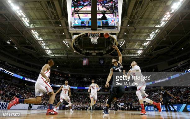 Trevon Bluiett of the Xavier Musketeers shoots against the Arizona Wildcats during the 2017 NCAA Men's Basketball Tournament West Regional at SAP...