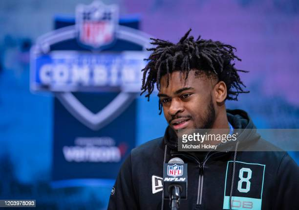 Trevon Diggs #DB08 of the Alabama Crimson Tide speaks to the media on day four of the NFL Combine at Lucas Oil Stadium on February 28, 2020 in...