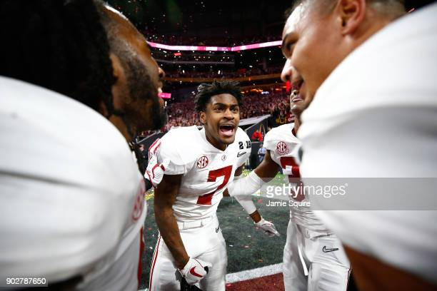 Trevon Diggs of the Alabama Crimson Tide celebrates beating the Georgia Bulldogs in overtime to win the CFP National Championship presented by AT&T...
