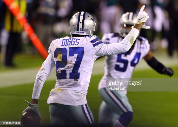 Trevon Diggs of the Dallas Cowboys celebrates after intercepting a Carson Wentz of the Philadelphia Eagles pass to the end zone during the second...
