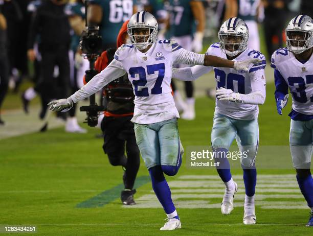 Trevon Diggs of the Dallas Cowboys celebrates with teammates after an interception against the Philadelphia Eagles in the third quarter of the game...
