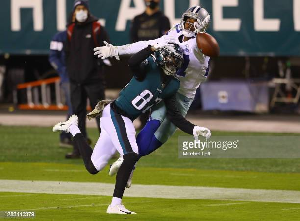 Trevon Diggs of the Dallas Cowboys defends a pass intended for John Hightower of the Philadelphia Eagles in the second quarter of the game at Lincoln...