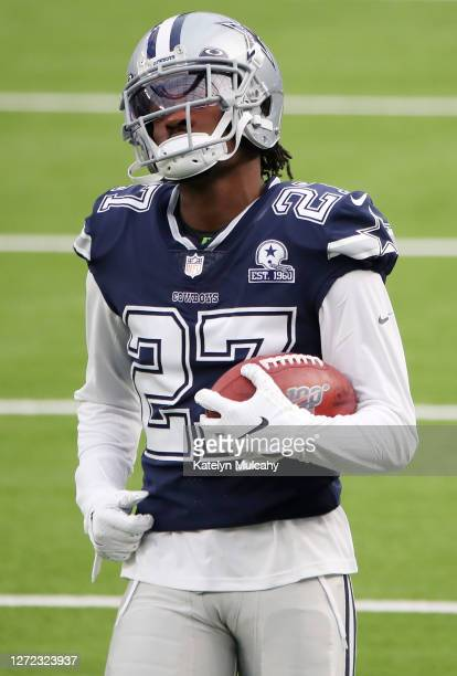 Trevon Diggs of the Dallas Cowboys warms up before the game against the Los Angeles Rams at SoFi Stadium on September 13, 2020 in Inglewood,...