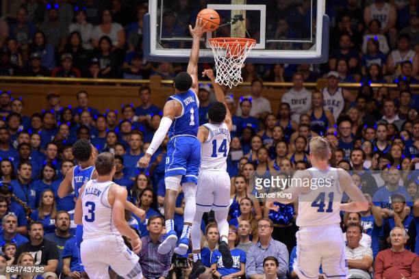 Trevon Duval blocks a shot by Jordan Goldwire of the Duke Blue Devils during Duke Countdown To Craziness at Cameron Indoor Stadium on October 20 2017...