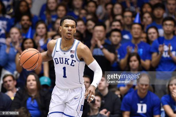 Trevon Duval of the Duke Blue Devils against the Virginia Tech Hokies during their game at Cameron Indoor Stadium on February 14 2018 in Durham North...