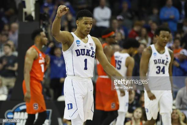 Trevon Duval of the Duke Blue Devils celebrates after defeating the Syracuse Orange in the 2018 NCAA Men's Basketball Tournament Midwest Regional at...