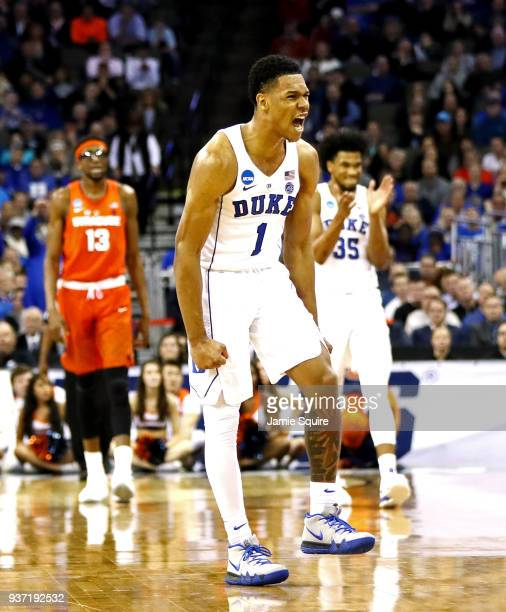 Trevon Duval of the Duke Blue Devils celebrates the basket against the Syracuse Orange during the second half in the 2018 NCAA Men's Basketball...
