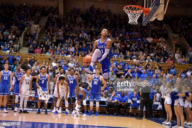 Trevon Duval of the Duke Blue Devils competes in a dunk contest during Duke Countdown To Craziness at Cameron Indoor Stadium on October 20 2017 in...