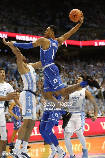 Trevon Duval of the Duke Blue Devils drives to the basket against the North Carolina Tar Heels during their game at Dean Smith Center on February 8...