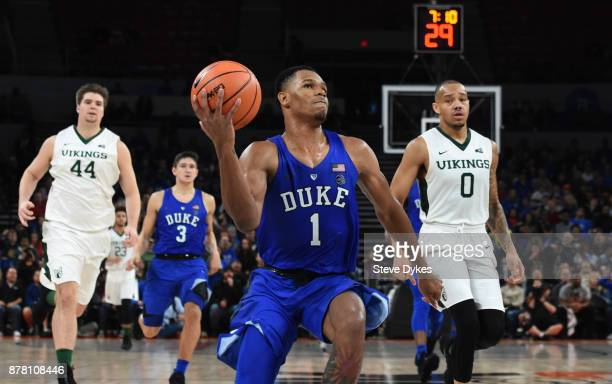 Trevon Duval of the Duke Blue Devils drives to the basket on Bryce Canda of the Portland State Vikings during the second half of the game at the...