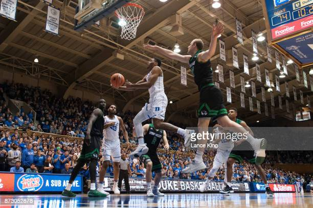 Trevon Duval of the Duke Blue Devils goes to the basket against the Utah Valley Wolverines at Cameron Indoor Stadium on November 11, 2017 in Durham,...