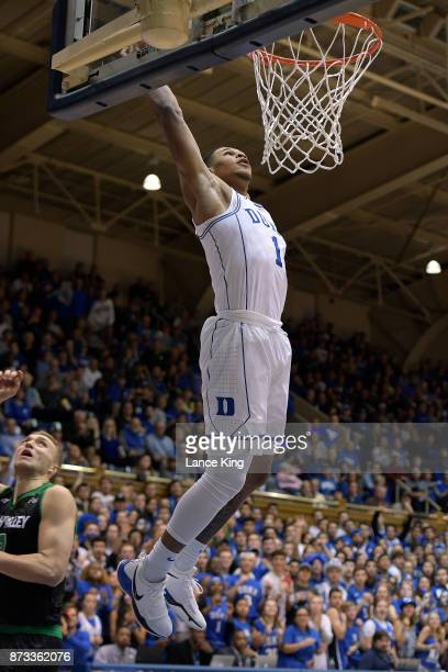 Trevon Duval of the Duke Blue Devils goes up for a dunk against the Utah Valley Wolverines at Cameron Indoor Stadium on November 11 2017 in Durham...