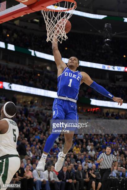Trevon Duval of the Duke Blue Devils goes up for a dunk against the Michigan State Spartans during the Champions Classic at United Center on November...