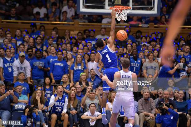 Trevon Duval of the Duke Blue Devils goes up for a dunk during Duke Countdown To Craziness at Cameron Indoor Stadium on October 20 2017 in Durham...