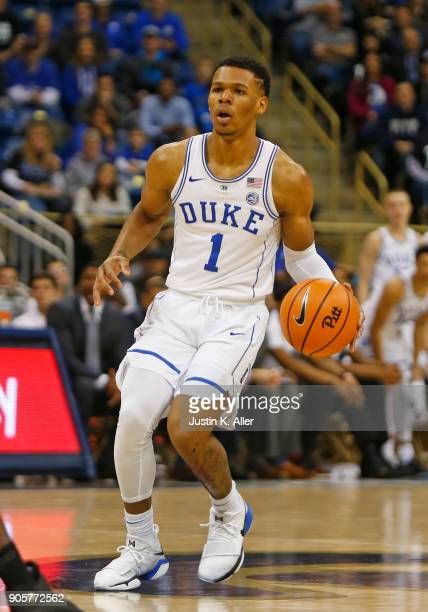 Trevon Duval of the Duke Blue Devils in action against at Petersen Events Center on January 10 2018 in Pittsburgh Pennsylvania
