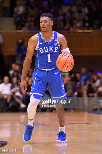 Trevon Duval of the Duke Blue Devils in action during Duke Countdown To Craziness at Cameron Indoor Stadium on October 20 2017 in Durham North...