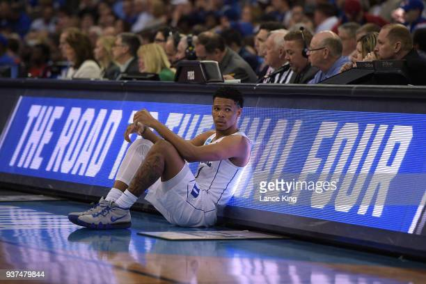 Trevon Duval of the Duke Blue Devils looks on from the scorer's table during their game against the Syracuse Orange during the 2018 NCAA Men's...