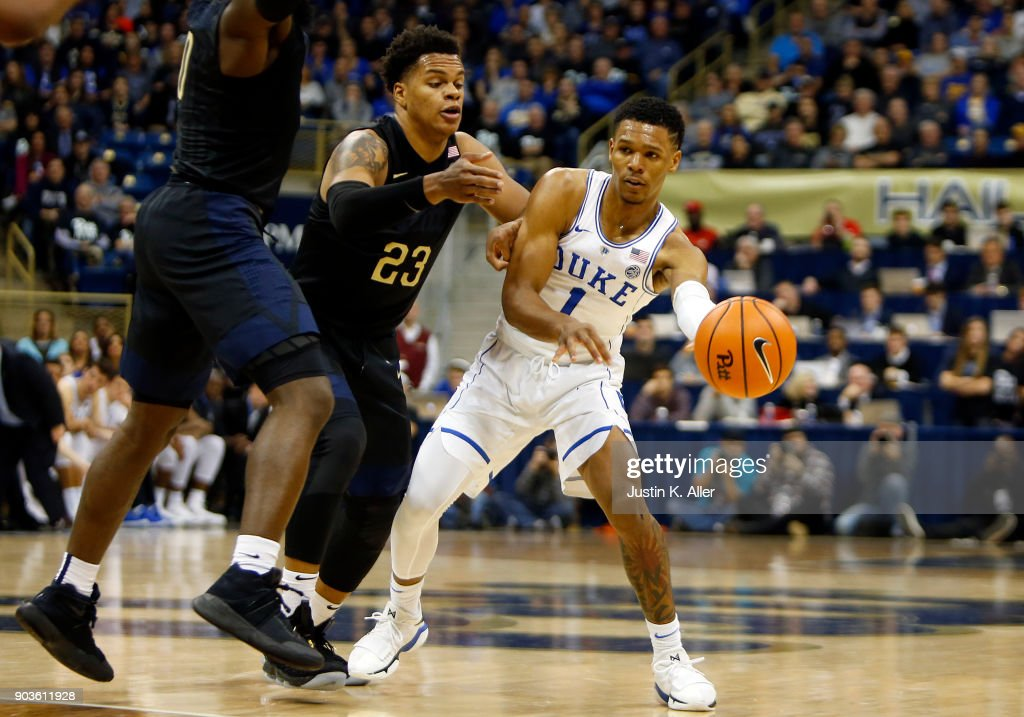 Trevon Duval #1 of the Duke Blue Devils makes a pass against Shamiel Stevenson #23 of the Pittsburgh Panthers at Petersen Events Center on January 10, 2018 in Pittsburgh, Pennsylvania.