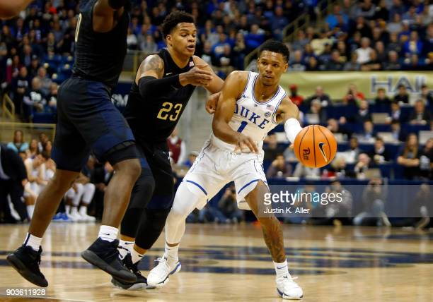 Trevon Duval of the Duke Blue Devils makes a pass against Shamiel Stevenson of the Pittsburgh Panthers at Petersen Events Center on January 10 2018...