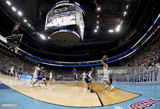 Trevon Duval of the Duke Blue Devils passes the ball against the Rhode Island Rams during the first half in the second round of the 2018 NCAA Men's...