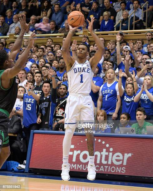 Trevon Duval of the Duke Blue Devils puts up a shot against the Utah Valley Wolverines at Cameron Indoor Stadium on November 11 2017 in Durham North...