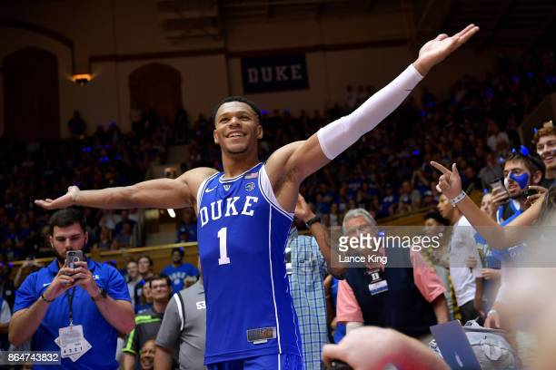 Trevon Duval of the Duke Blue Devils reacts during Duke Countdown To Craziness at Cameron Indoor Stadium on October 20 2017 in Durham North Carolina