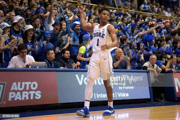 Trevon Duval of the Duke Blue Devils reacts near the end of their game against the North Carolina Tar Heels at Cameron Indoor Stadium on March 3 2018...