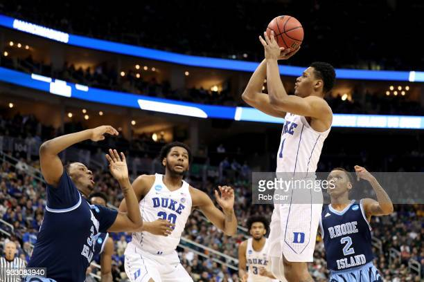Trevon Duval of the Duke Blue Devils shoots the ball against the Rhode Island Rams during the first half in the second round of the 2018 NCAA Men's...