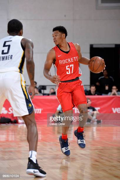 Trevon Duval of the Houston Rockets handles the ball against the Indiana Pacers during the 2018 Las Vegas Summer League on July 6 2018 at the Cox...
