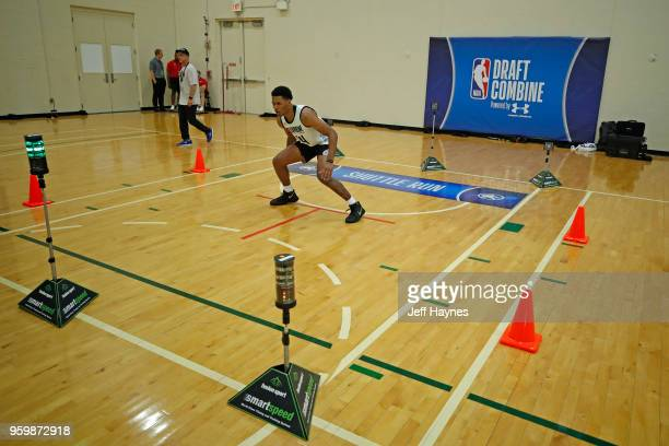 Trevon Duval participates in the shuttle run during the NBA Draft Combine Day 1 at the Quest Multisport Center on May 17 2018 in Chicago Illinois...