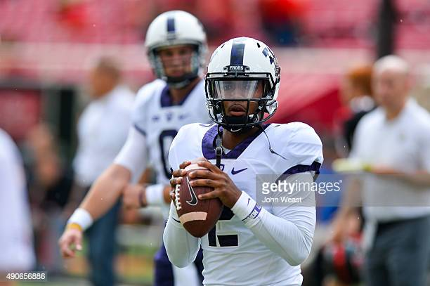 Trevone Boykin of the TCU Horned Frogs during warm ups prior to the game against the Texas Tech Red Raiders on September 26, 2015 at Jones AT&T...