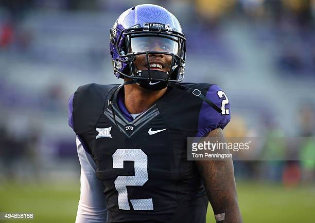 Trevone Boykin of the TCU Horned Frogs looks on before the Horned Frogs take on the West Virginia Mountaineers at Amon G Carter Stadium on October 29...