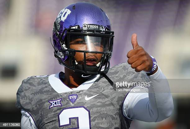 Trevone Boykin of the TCU Horned Frogs warms up before taking on the Texas Longhorns at Amon G Carter Stadium on October 3 2015 in Fort Worth Texas