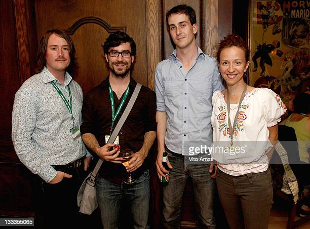 Trevor Anderson, AJ Bond, Alex Barrett and Ingrid Veninger attends the Film Circuit Party held at Bistro 990 during the 2009 Toronto International...