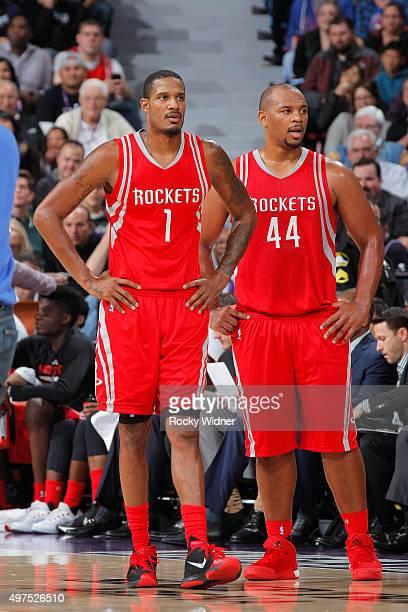 Trevor Ariza and Chuck Hayes of the Houston Rockets face off against the Sacramento Kings on November 6 2015 at Sleep Train Arena in Sacramento...