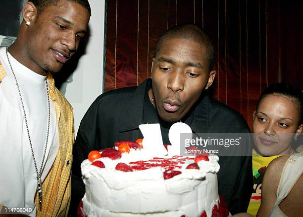 Trevor Ariza Jamal Crawford and Capricorn Clark during Jamal Crawford's 25th Birthday Party at 58 in New York City New York United States