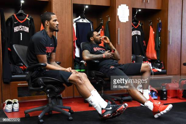 Trevor Ariza of the Houston Rockets and Tarik Black of the Houston Rockets are photographed in the locker room after the game against the Golden...
