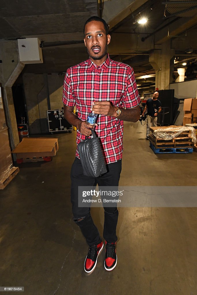 Trevor Ariza #1 of the Houston Rockets arrives at the arena before the game against the Los Angeles Lakers on October 26, 2016 at STAPLES Center in Los Angeles, California.