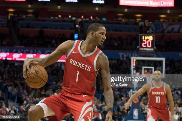 Trevor Ariza of the Houston Rockets brings the ball down court against the Oklahoma City Thunder during the second half of a NBA game at the...
