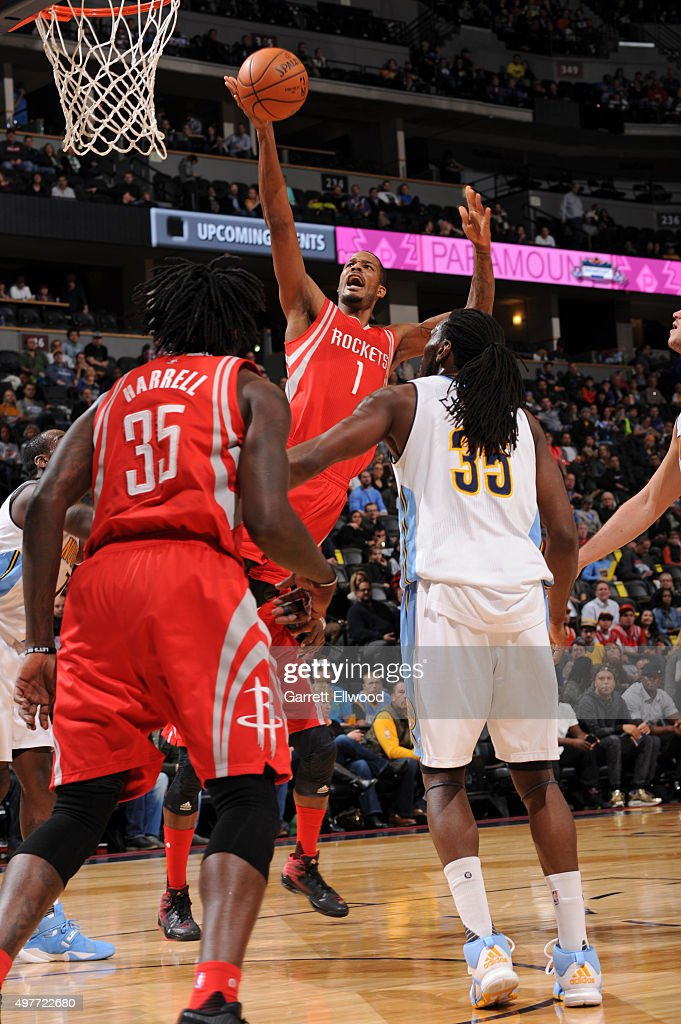 Trevor Ariza #1 of the Houston Rockets drives to the basket against the Denver Nuggets on November 13, 2015 at the Pepsi Center in Denver, Colorado.