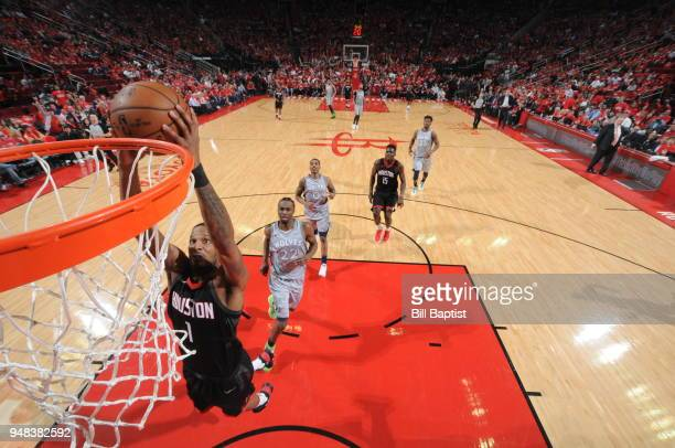 Trevor Ariza of the Houston Rockets drives to the basket during the game against the Minnesota Timberwolves during Game Two of Round One of the 2018...